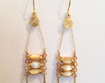 Gold wire hand wrapped natural tridacna/giant clam shell beads dangling earrings handmade with 14k gold filled chain