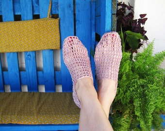 Woman Slippers, Summer Slippers, Light Pink Slippers, Len Slippers, Gift for wife, gift for her, Home Shoes, Crochet Slippers