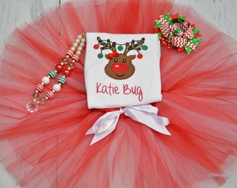 Reindeer Christmas Outfit - Girls Personalized Christmas Shirt - Reindeer Shirt - Custom Christmas Outfit - Christmas Bow - Toddler, Girls