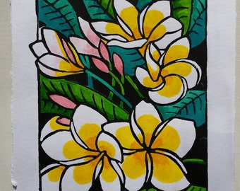 Lush - original hand-pulled, hand-coloured block print - frangipani - 12cm x 17cm print on A4 size art paper