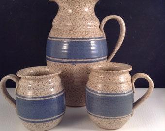 Ceramic Stoneware Pitcher and Mugs