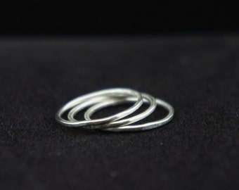 Thin Silver Ring Band, Stacking Rings, Stackable Rings, Thin Silver Ring Band, 999 Fine Silver, Free US Shipping
