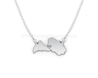 Latvia Necklace - Latvia map necklace, Latvia charm necklace, I love Latvia necklace