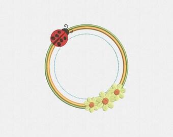 Ladybug Frame Applique Machine Embroidery Design - 1 Size