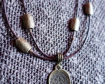 Necklace tree of life bronze, Brown waxed cotton