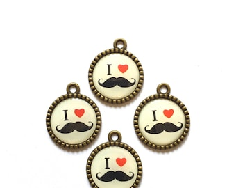 I heart mustache charms (10 pieces)