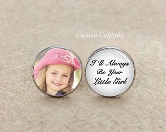 I will always be your little girl Cufflinks, mens Jewelry , Birthday Gifts,Handcraft cufflink, Men's Cuff Links & Accessories, free gift box