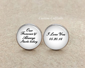 Our forever and always start today, i love you Cufflinks, Custom Name and Date Gift, Groom Cufflinks, Unique Gifts for groom, custom tie pin