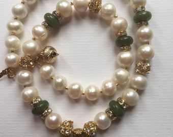 Handmade Freshwater Pearl and Baikal Nephritis Beads Tassel Necklace With Golden Tone Metal Clear Glass Rhinestones Details