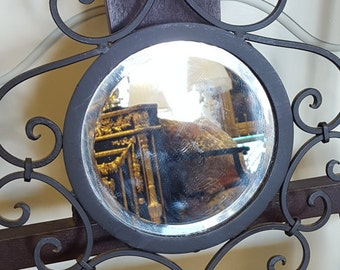 Wrought Iron Scroll Mirror and candle holder