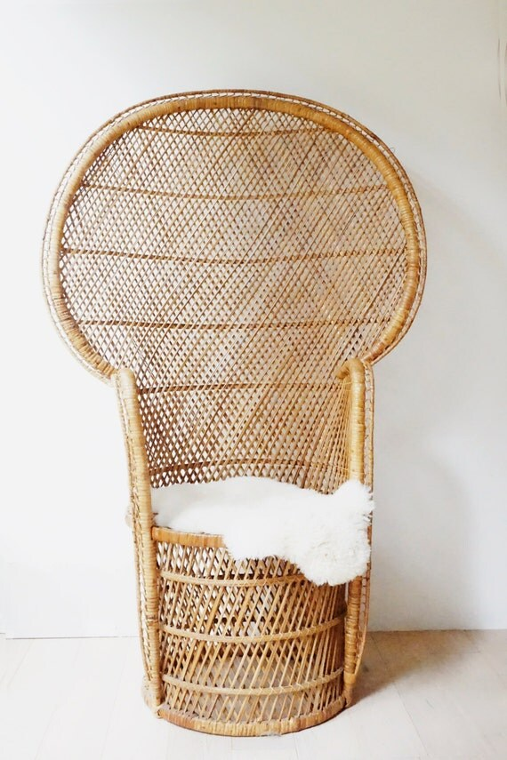 vintage 70s chair vintage peacock chair rattan full size woven handmade 70s