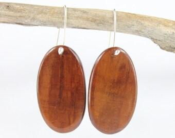Wood Earrings - Australian Sheoak Wood and Sterling Silver earrings - Hand made in Australia