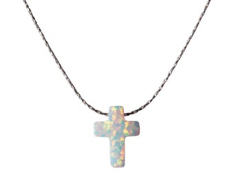 White Opal Cross Necklace Dainty 925 Silver Necklace Pendant Handmade Free UK delivery + Gift Box + Gift Bag