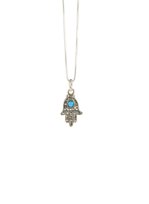 Hamsa Hand of Fatima Dainty Sterling Silver Necklace Pendant Turquoise Opal Handmade Free UK delivery