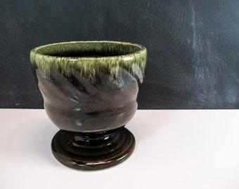 Footed Glazed Pot Etsy