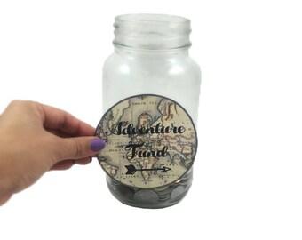 Adventure fund digital label for diy money jar piggy bank for for Travel fund piggy bank