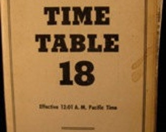 Rare 1957 PACIFIC COAST R.R. CO. Time Table 18