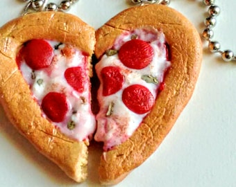 Best Friends Heart Pizza Necklace - Miniature Food Jewelry - Gifts for Foodies - Inedible Jewelry, BFF Pizza Jewelry, Heart Pizza Necklace