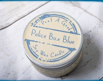 Fandom Candle ~ Doctor Who Inspired  ~ Police Box Blue ~ 8oz Soy Candle