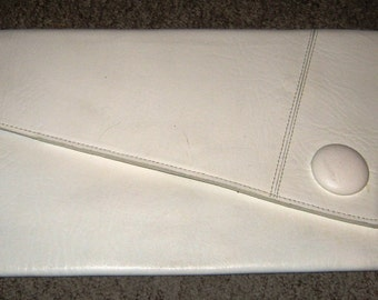 80's White leather Envelope Clutch bag
