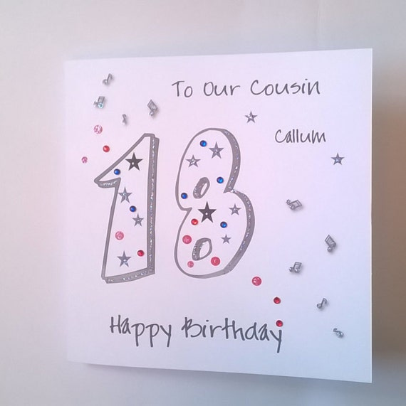 Lovely Personalised Handmade 18th Birthday Card. Musical Notes