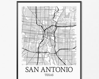 San Antonio Map Art Print, San Antonio Poster Map of San Antonio Decor, San Antonio City Map Art, San Antonio Gift, San Antonio Texas Poster