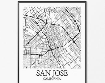 San Jose Map Art Print, San Jose Poster Map of San Jose Decor, San Jose City Map Art, San Jose Gift, San Jose California Art Poster