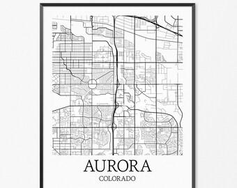 Aurora Map Art Print, Aurora Poster Map of Aurora Decor, Aurora City Map Art, Aurora Gift, Aurora Colorado Art Poster