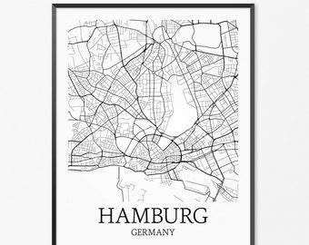 Hamburg Map Art Print, Hamburg Poster Map of Hamburg Decor, Hamburg City Map Art, Hamburg Gift, Hamburg Germany Art Poster