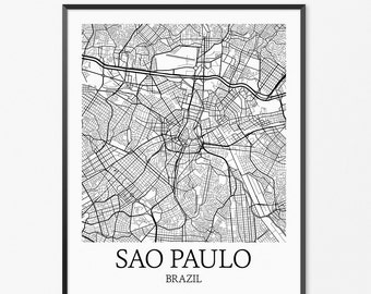 Sao Paulo Map Art Print, Sao Paulo Poster Map of Sao Paulo Decor, Sao Paulo City Map Art, Sao Paulo Gift, Sao Paulo Brazil Art Poster