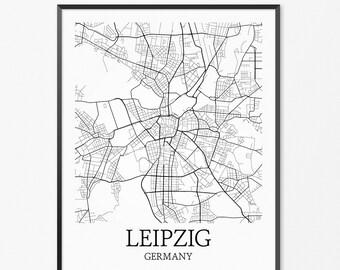 Leipzig Map Art Print, Leipzig Poster Map of Leipzig Decor, Leipzig City Map Art, Leipzig Gift, Leipzig Germany Art Poster