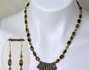 """Jewelry Set - Tiger Eye beaded necklace (18"""") and matching earring set - #1033"""