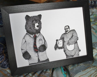 Imposters Illustration Bear Art Print A5