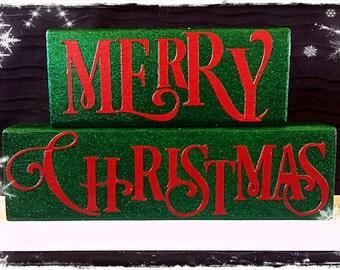 Merry Christmas Wood Block Set!