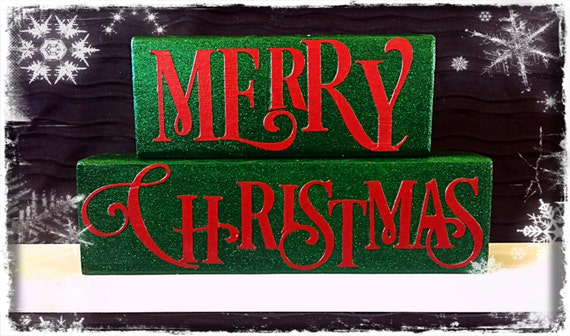 Merry Christmas Wood Block Set By Chevalcrafts On Etsy