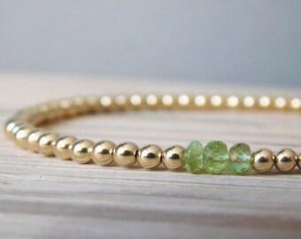 Birthstone Bracelet, August Birthstone, Birthstone Jewellery, Peridot Bracelet, Gold-filled Bracelet, Gold-filled Beads, Birthday Gift
