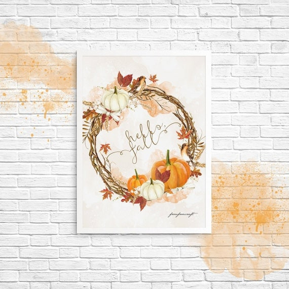 Kitchen Decor For Fall: Fall Wall Art Autumn Wall Decor Pumpkin Kitchen Print