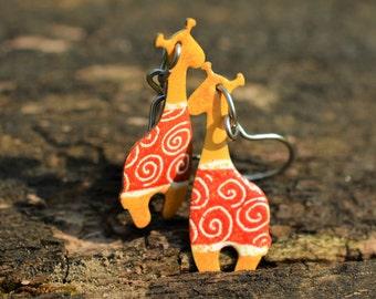 Handpainted Giraffe Earrings, Animal Earrings, Animal Jewelry, Funny Earrings, Funny Jewelry, Whimsical Quirky Jewelry, Earrings for Kids