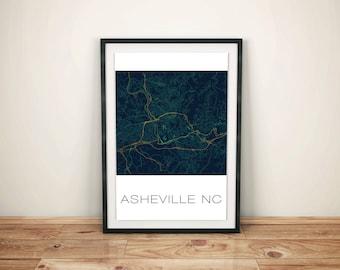 Asheville NC Art Print, Asheville Print, Map Art, Vintage Map Print, Map Poster, Home Decor, City Map, Wall Decor