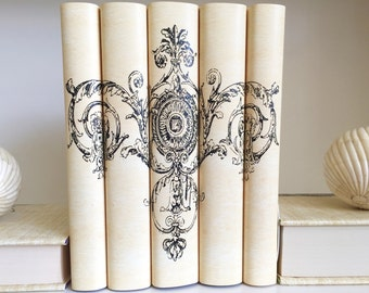 Floral Scroll Decorative Books, Italianate Scroll Book Set, Book Decor, Neutral Books, Book Art, Custom Decorative Books, Book Lover, Art