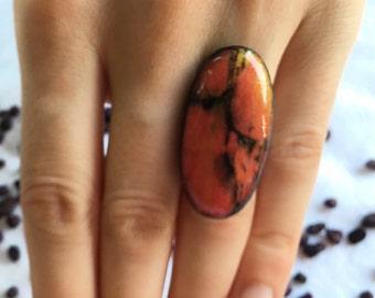 Ceramic Ring Ceramic Jewelry - big ring, unique ring, handmade ring, adjustable ring
