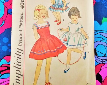 "Simplicity  Sewing Pattern - Late 1950's /Early 1960's - girl's one-piece dress - size 3 chest 22"" - Mpn 3459 - used and  complete"
