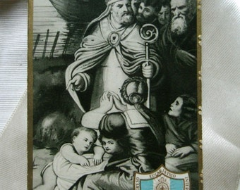 Vintage paper. Ephemera. Collectible. Holy card.Grey. Vintage prayer. Saint Nicolas de Bari. Catholic. Religious card. Saint. Craft supply.