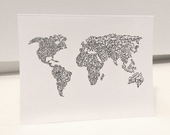 World Map Card Arabic Calligraphy Original any occasion set (blank inside, folded card)