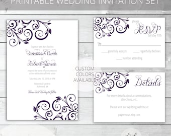 Purple/Gray Printable Wedding Invitation Set | Floral | Savannah Collection | RSVP & Details/Enclosure Card | Custom Colors Available