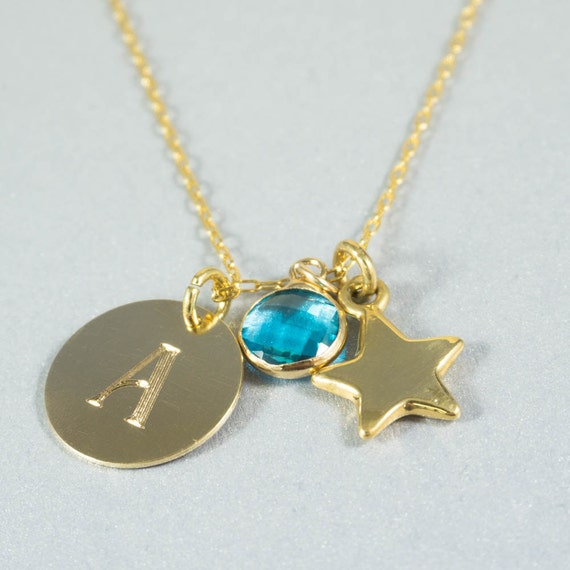 December Birthstone Necklace Gold Blue Topaz Necklace with