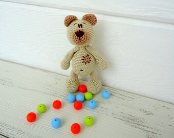 Baby toy Rattle BEAR,Teething Toy,Crochet baby toy,Baby Toys,Crochet Toys