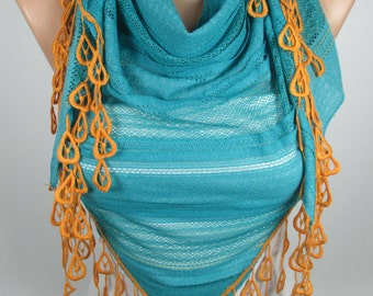 Blue Scarf Orange Scarf Fringe Edge Scarf Triangle Scarf Winter Spring Summer Scarf Women Fashion Accessories Gift Ideas For Her Christmas