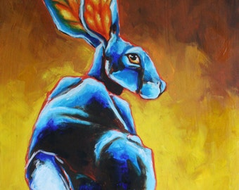 Jack Rabbit Oil Painting in Brilliant Blues and Yellows