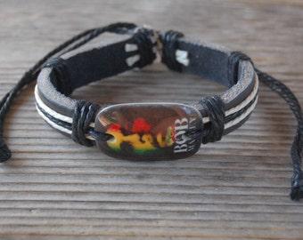 Bob Marley Bracelet,Surfer Leather Bracelet ,Leather Wristband,Leather Cuff Bracelet,Rasta Bracelet,Man,Woman,Adjustable Drawstring Bracelet